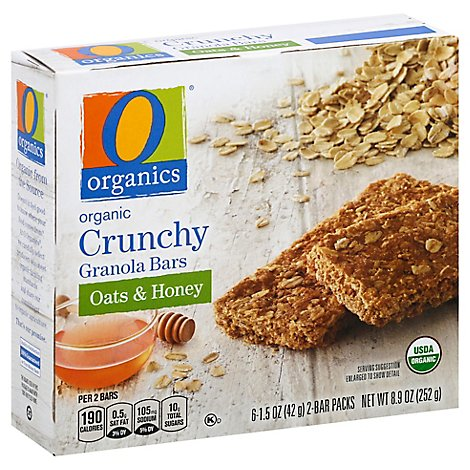 O Organics Organic Granola Bars Crunchy Oats & Honey - 6-1.5 Oz