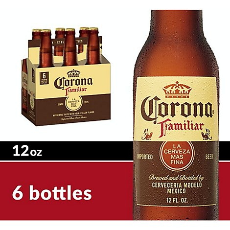 Corona Familiar Beer Mexican Lager 4.8% ABV Bottle - 6-12 Fl. Oz.