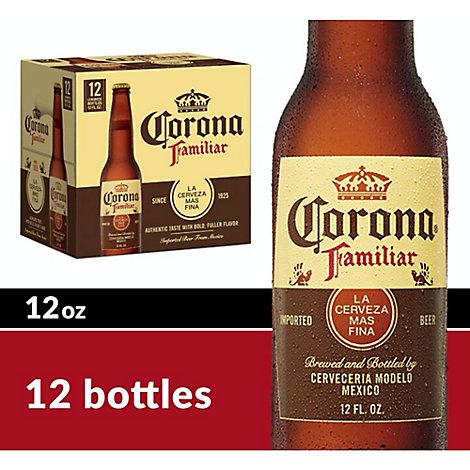 Corona Familiar Beer Mexican Lager 4.8% ABV Bottle - 12-12 Fl. Oz.