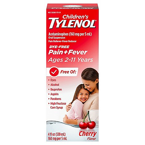 TYLENOL Pain Reliever/Fever Reducer Oral Suspension Cherry Flavor - 4 Fl. Oz.