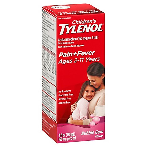 Tylenol Child Suspn Bbl Gum - 4 Fl. Oz.