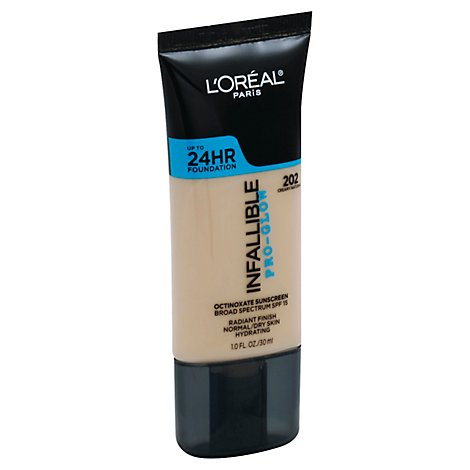 LOreal Infallible Pro-Glow Foundation Creamy Natural 202 Broad Spectrum SPF 15 - 1 Fl. Oz.