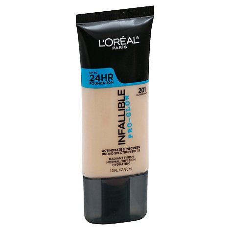 LOreal Infallible Pro-Glow Foundation Classic Ivory 201 Broad Spectrum SPF 15 - 1 Fl. Oz.