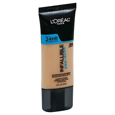 LOreal Infallible Pro-Glow Foundation Natural Buff 204 Broad Spectrum SPF 15 - 1 Fl. Oz.