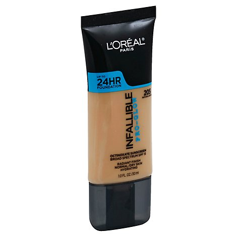 LOreal Infallible Pro-Glow Foundation Natural Beige 205 Broad Spectrum SPF 15 - 1 Fl. Oz.