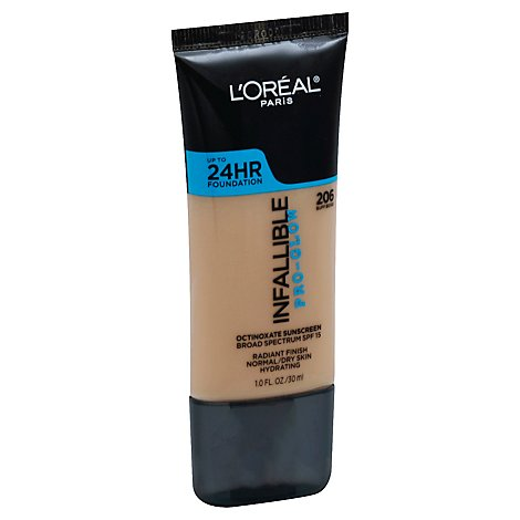 LOreal Infallible Pro-Glow Foundation Buff Beige 206 SPF 15 - 1 Oz