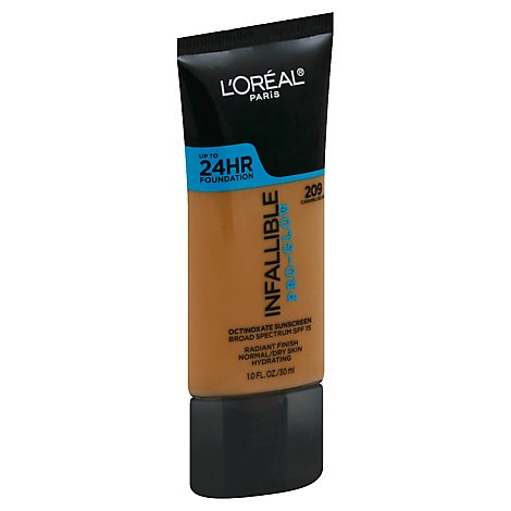 LOreal Infallible Pro-Glow Foundation Caramel Beige 209 Broad Spectrum SPF 15 - 1 Fl. Oz.
