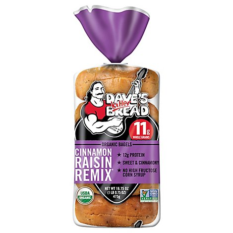 Daves Killer Bread Cinnamon Raisin Remix Bagel Organic 5 Count - 16.75 Oz