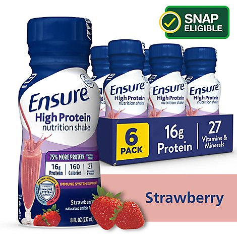 Ensure High Protein Nutrition Shake Ready To Drink Strawberry - 6-8 Fl. Oz.