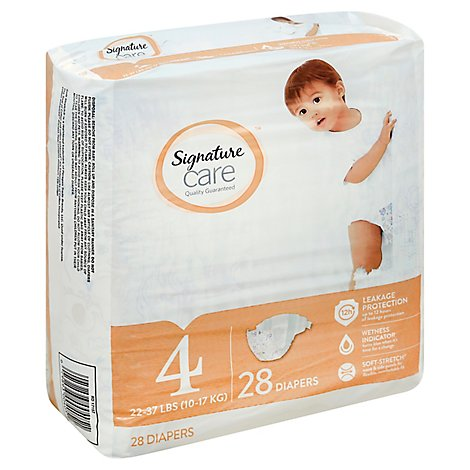 Signature Care Diapers Leakage Protection Size 4 22 To 37 Lb - 28 Count