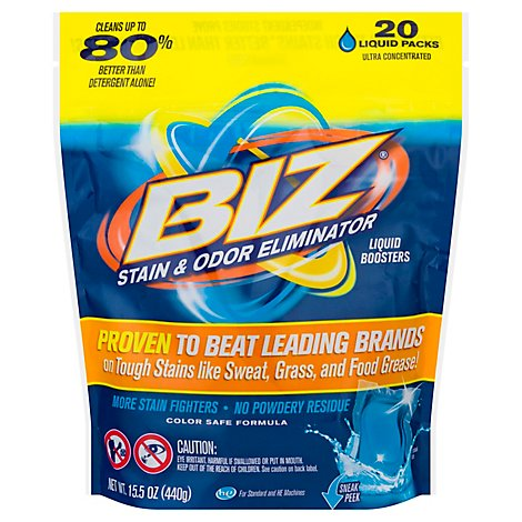 Biz Laundry Detergent Stain & Odor Eliminator Liquid Boosters Pouch - 20 Count