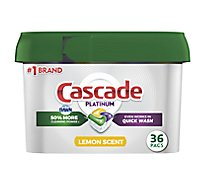 Cascade Platinum Dishwasher Detergent ActionPacs Lemon Scent Tub - 36 Count