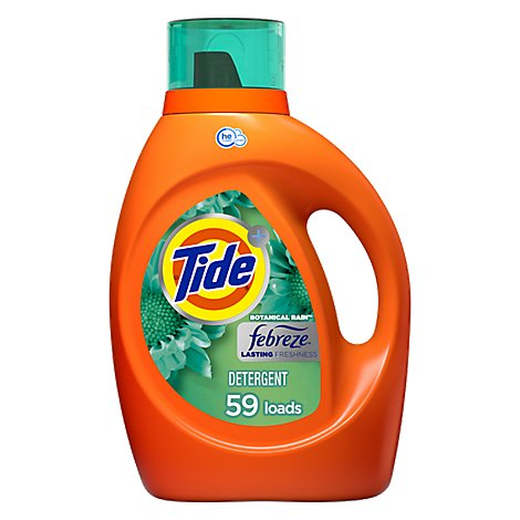 Tide Plus Detergent Liquid Febreze Freshness Botanical Rain HE Turbo Clean - 92 Fl. Oz.