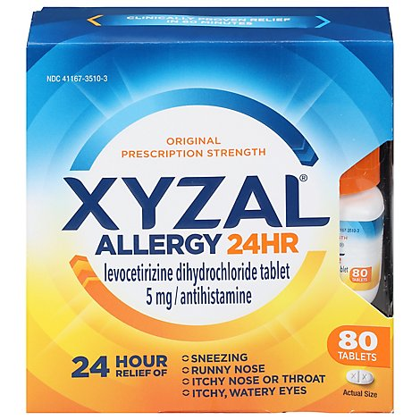 XYZAL Allergy Antihistamine Tablets 24 Hr Original Prescription Strength 5 mg Tablets - 80 Count