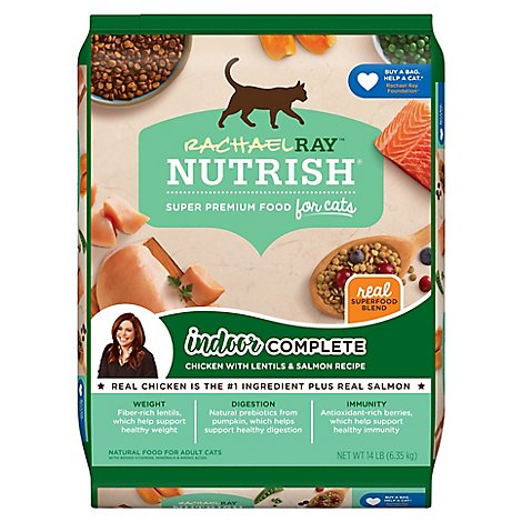 Rachael Ray Nutrish Dry Cat Food Super Premium Chicken with Lentils & Salmon - 14 Lb