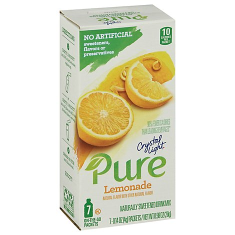 Crystal Light Pure Drink Mix Sweetened On-The-Go Packets Lemonade - 7-0.14 Oz