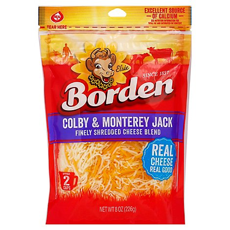 Borden Finely Shredded Colby & Montery Jack Cheese - 8 Oz