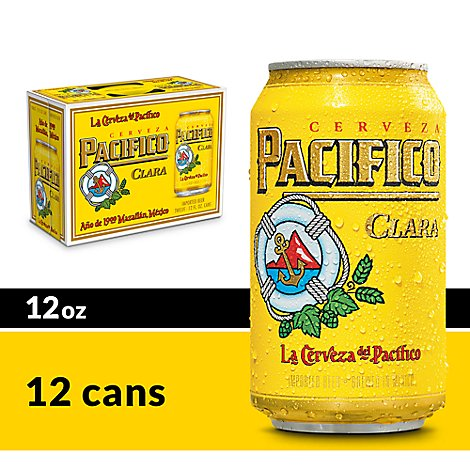 Pacifico Clara Beer Mexican Lager 4.4% ABV Cans - 12-12 Fl. Oz.