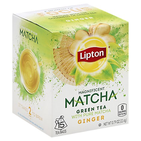 Lipton Green Tea Magnificent Matcha Ginger - 15 Count
