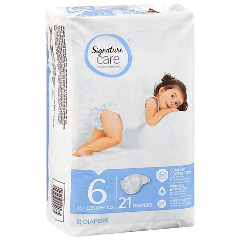 Signature Care Diapers Size 6 35 Lb Plus - 21 Count