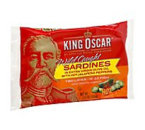 King Oscar Sardines in Extra Virgin Olive Oil Double Layer With Hot Jalapeno Peppers - 3.75 Oz