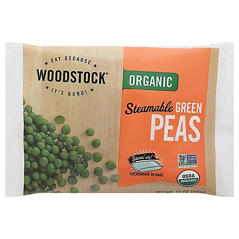 Woodstock Organic Peas Green Steamable - 12 Oz