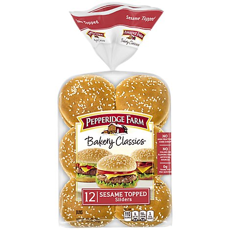 Pepperidge Farm Bakery Classics Buns Topped Sesame Sliders - 12 Count