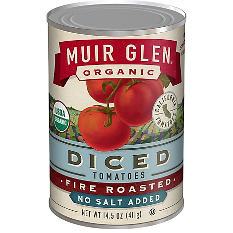 Muir Glen Tomatoes Organic Diced Fire Roasted No Salt Added - 14.5 Oz