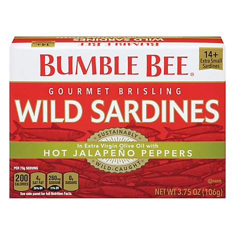 Bumble Bee Sardines Wild Gourmet Brisling in Extra Virgin Olive Oil with Jalapeno - 3.75 Oz