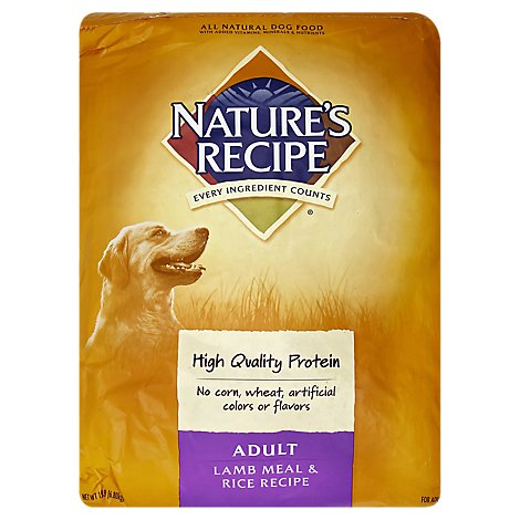Natures Recipe Dog Food All Natural Adult Lamb Meal & Rice Recipe Bag - 15 Lb