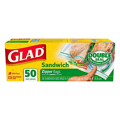 Glad Zip Sandwich Bag - 50 Count