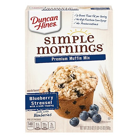 Duncan Hines Simple Mornings Muffins Mix Premium Blueberry Streusel - 20.5 Oz