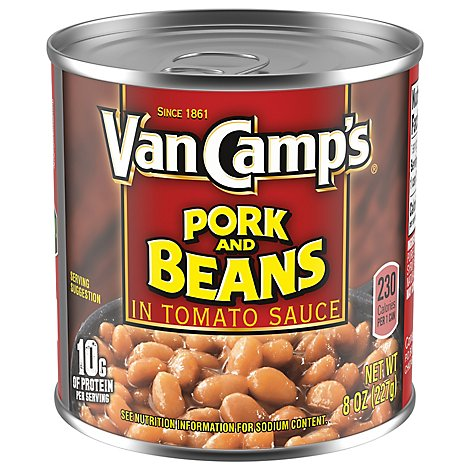 Van Camps Pork & Beans In Tomato Sauce 98% Fat Free - 8 Oz