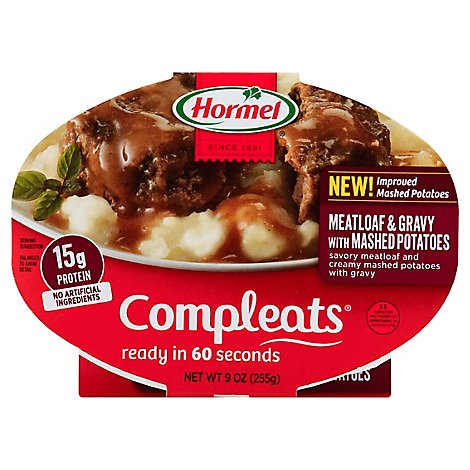 Hormel Compleats Microwave Meals Homestyle Meatloaf & Gravy with Mashed Potatoes - 9 Oz