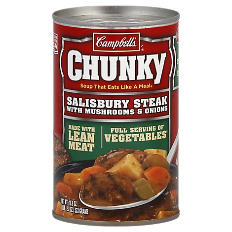 Campbells Chunky Soup Salisbury Steak with Mushrooms & Onions - 18.8 Oz