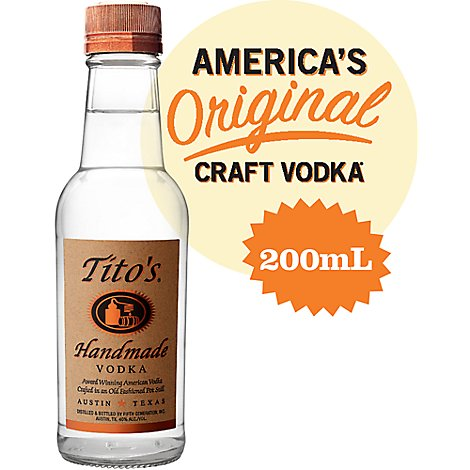 Titos Vodka Texas Handmade 80 Proof - 200 Ml