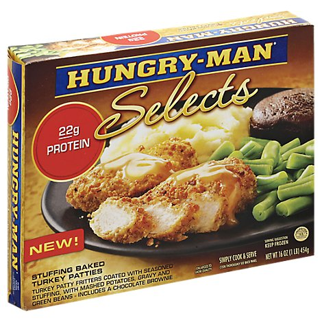 Hungry-Man Selects Frozen Meal Stuffing Baked Turkey Patties - 16 Oz