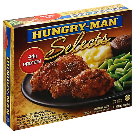 Hungry-Man Selects Frozen Meal Stuffing Baked Mesquite Flavored Classic Fried Chicken - 16 Oz