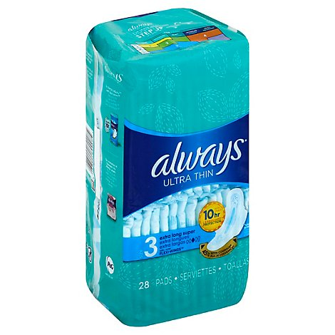 Always Ultra Thin Pads Extra Super Long Absorbency With Wings Size 3 Unscented - 28 Count