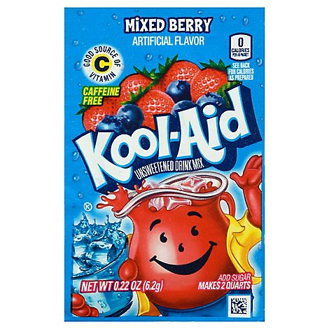 Kool-Aid Drink Mix Caffeine Free Unsweetened Mixed Berry - 0.22 Oz