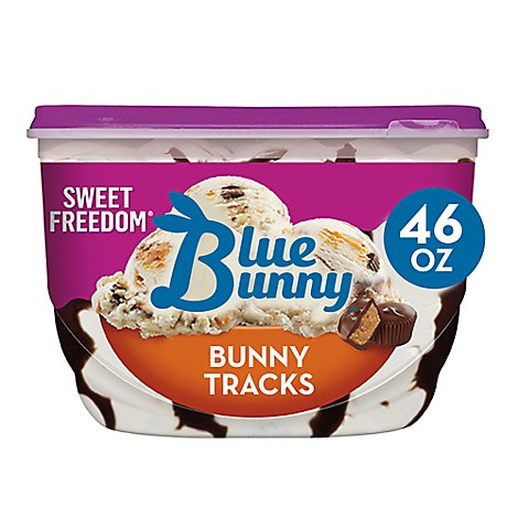 Blue Bunny Sweet Freedom Ice Cream No Sugar Added Bunny Tracks - 46 Fl. Oz.