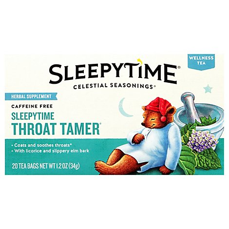 Celestial Seasonings Sleepytime Wellness Tea Caffeine Free Throat Tamer - 20 Count