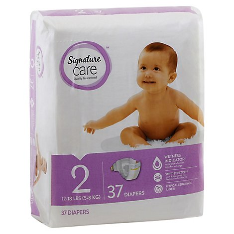 Signature Care Diapers Leakage Protection Size 2 12 To 18 Lb - 37 Count