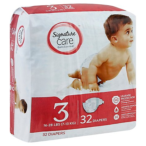 Signature Care Diapers Size 3 16 To 28 Lb - 32 Count