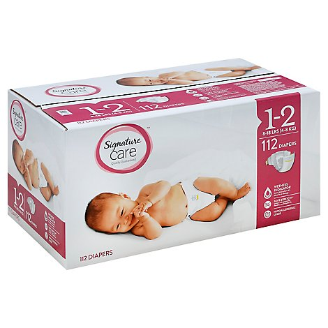 Signature Care Diapers Size 1 To 2 8 To 18 Lb - 112 Count