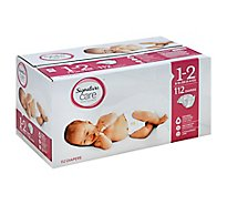 Signature Care Diapers Wetness Indicator Size 1 To 2 8 To 18 Lb - 112 Count