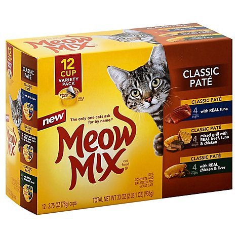 Meow Mix Cat Food Cups Classic Pate Variety Tuna Mixed Grill Chicken & Liver Box - 12-2.75 Oz