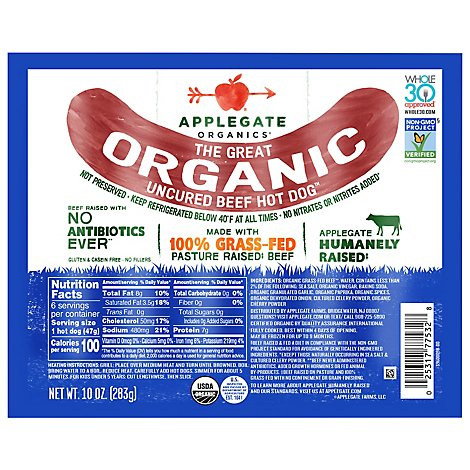 Applegate The Great Organic Uncured Beef Hot Dog - 10oz