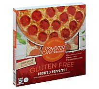 Sonoma Pizza Flatbread Thin & Crispy Crust Uncured Pepperoni Frozen - 17.17 Oz