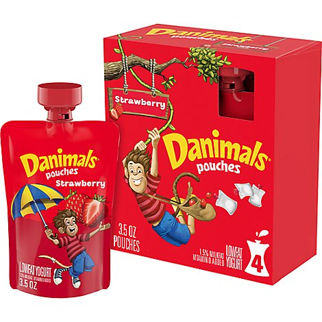 Danimals Pouches Yogurt Lowfat Strawberry - 4-3.5 Oz